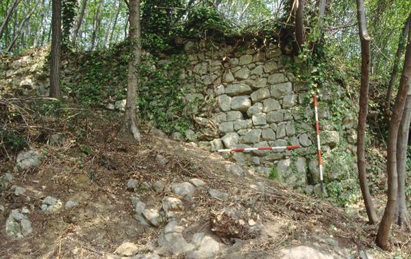 Un tratto della cortina meridionale del castello del Col Muson